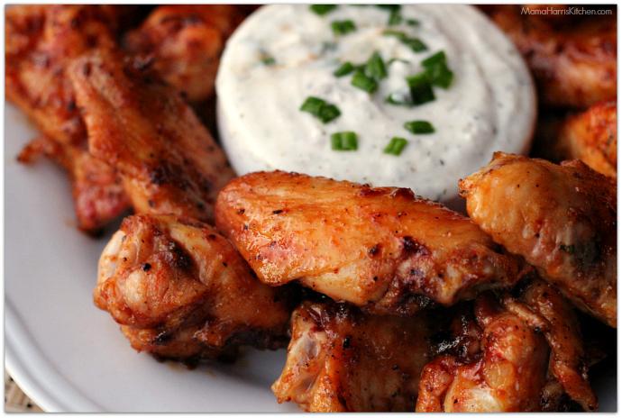 Grilled Honey Sriracha Wings with Herbed Yogurt Dip #ChicksWingIt #WingItWednesday   Mama Harris' Kitchen
