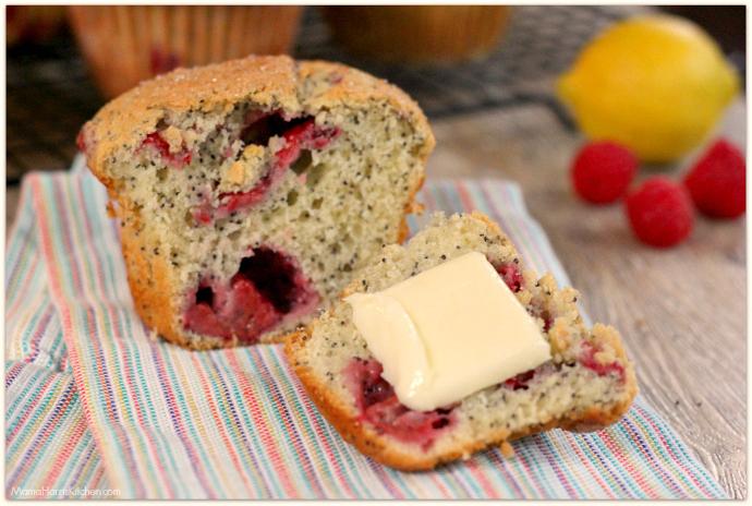 Jumbo Raspberry Lemon Poppy Seed Muffins | Mama Harris' Kitchen