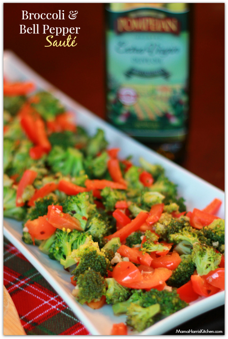 Thanksgiving for the Vegetarian - 12 Recipe Ideas - broccoli and bell pepper saute | Mama Harris' Kitchen