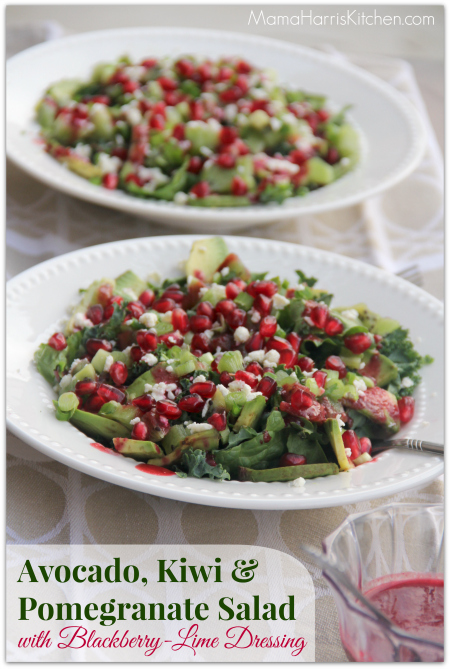 Thanksgiving for the Vegetarian - 12 Recipe Ideas - avocado, kiwi and pomegranate salad with blackberry lime dressing  | Mama Harris' Kitchen