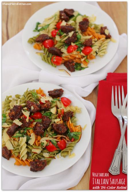 Thanksgiving for the Vegetarian - 12 Recipe Ideas - vegetarian italian sausage with tri color rotini   Mama Harris' Kitchen