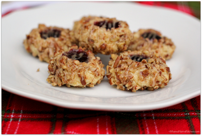 Cherry Pecan Thumbprint Cookies #HousefulOfCookies   Mama Harris' Kitchen