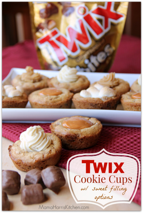Twix Cookie Cups with Sweet Filling Options - 15+ Cookie Recipes from Mama Harris' Kitchen | Mama Harris' Kitchen