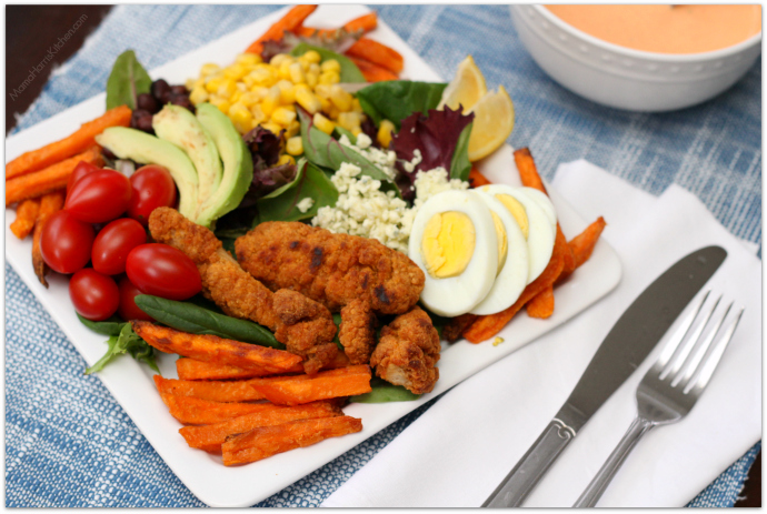 Southwest Chicken Salad with Sweet Potato Fries
