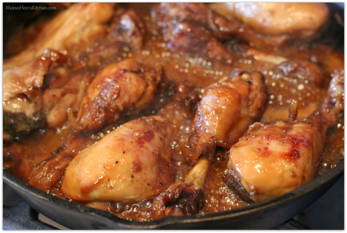 Sweet and Savory drumsticks pan fried on the stovetop | Mama Harris' Kitchen