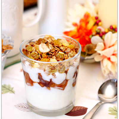 Apple Yogurt Parfaits with Homemade Fall Flavors Granola