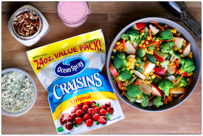 Crunchy Broccoli-Apple Salad with Creamy Raspberry Poppy Seed Dressing #BetterWithCraisins AD | Mama Harris' Kitchen