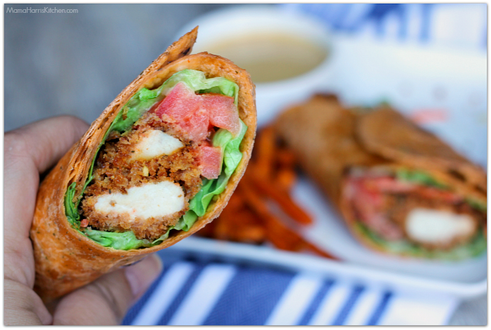 Honey Mustard Crispy Chicken Wrap with Sweet Potato Fries #NewComfortFood AD | Mama Harris' Kitchen