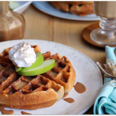 Caramel Apple Cake Mix Waffles with Cake Frosting Syrup #BakeFallFavorites AD | Mama Harris' Kitchen