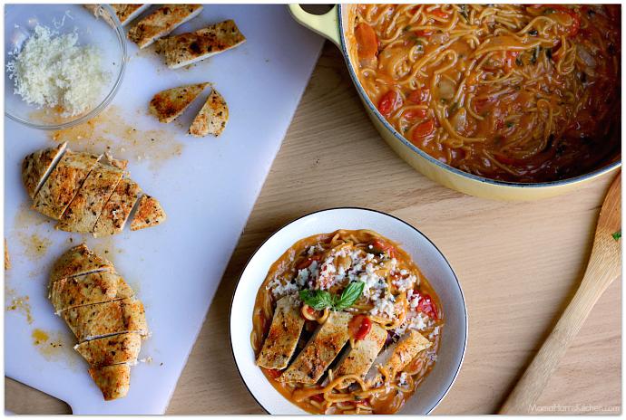 One Pot Chicken Veggie Spaghetti