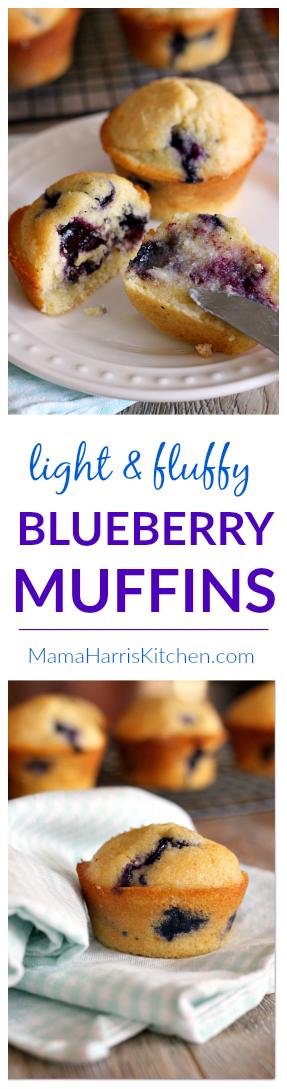 Light and Fluffy Blueberry Muffins | Mama Harris' Kitchen