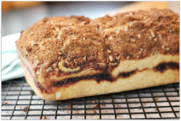 Cinnamon Swirl Quick Bread with French Vanilla Glaze #SplashofDelight #ad | Mama Harris' Kitchen