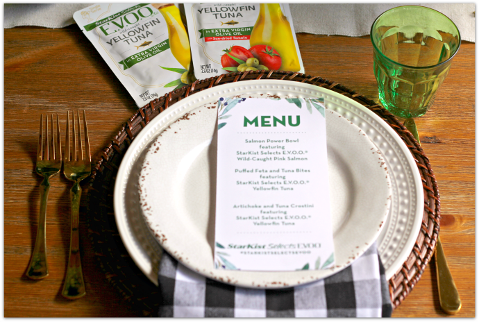 Fresh Entertaining Ideas with Tuna - Place Setting with Menu AD #StarkistSelectsEVOO