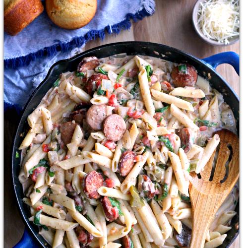 Creamy Cajun Pasta Sausage #OnlyVidalia AD | Mama Harris' Kitchen
