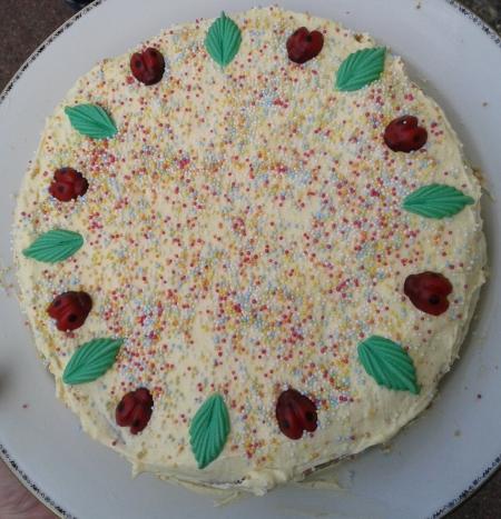 Das ist eine selber gemachte, exquisite Vanille-Buttercrème-Torte