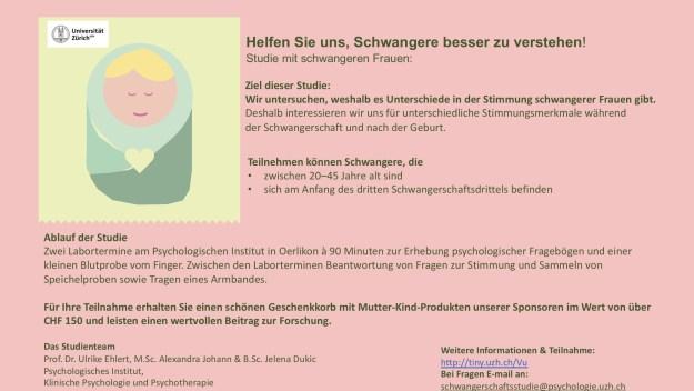 Onlinerekrutierung für die Studie Psychische Gesundheit von Schwangeren der Universität Zürich
