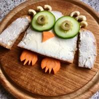 Funny Food, Foodart,Eule, Owl, Essen für Kinder, for Kids, Abendbrot, Toast, Brot, Gemüse