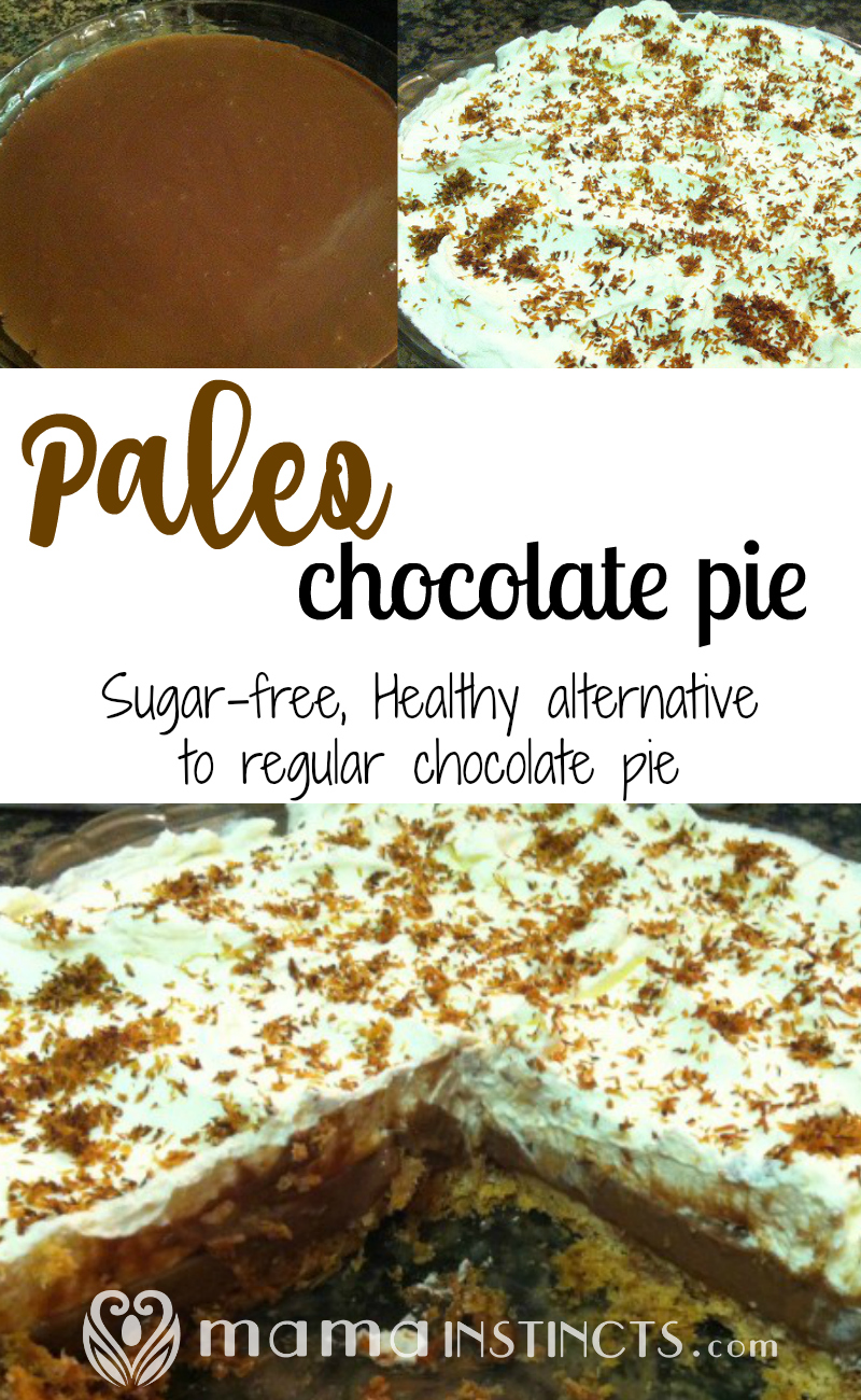 Who doesn't love chocolate pie? Try this kid-friendly, paleo and healthy alternative everyone will love. #paleo #paleodessert #chocolatepie #pie #dessert