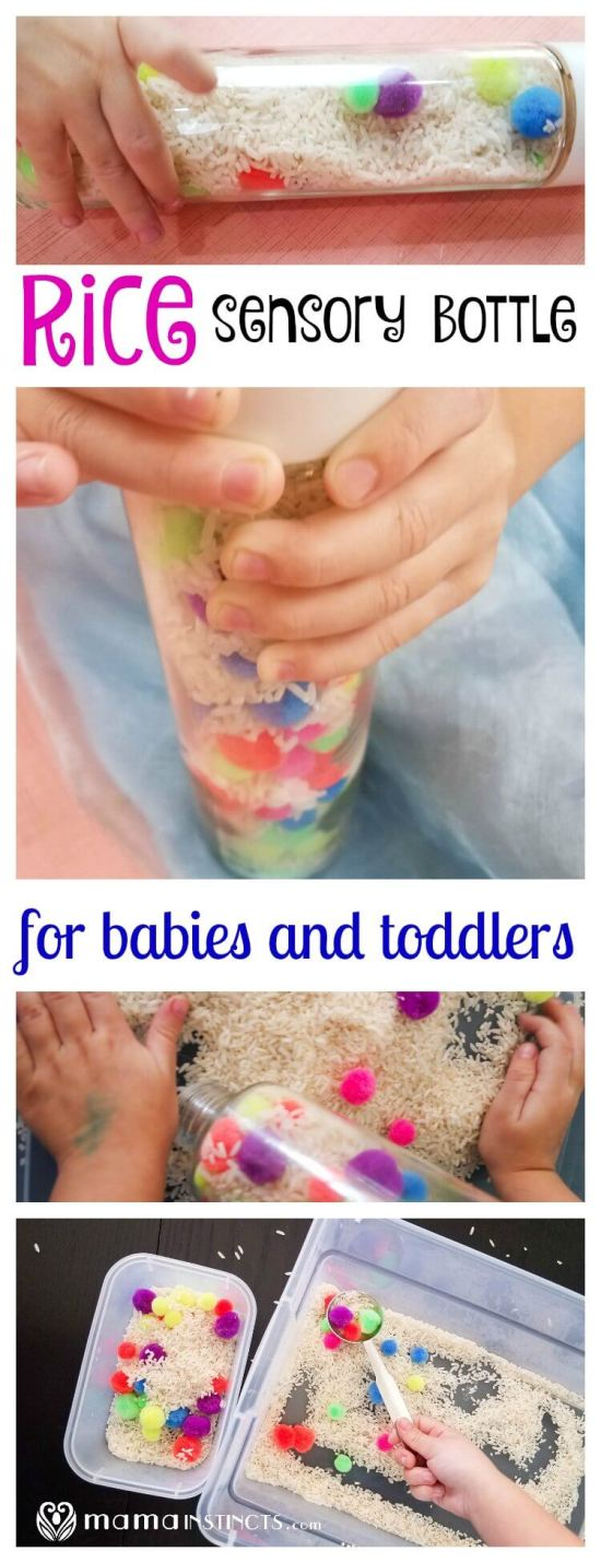 Try this fun sensory activity with your little ones. Make a baby safe rice sensory bottle and then let your toddler play with the contents using a sensory bin.