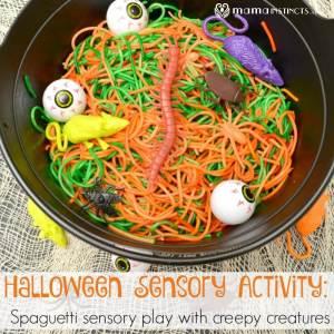 Halloween Sensory Activity with Spaghetti and Creepy Creatures