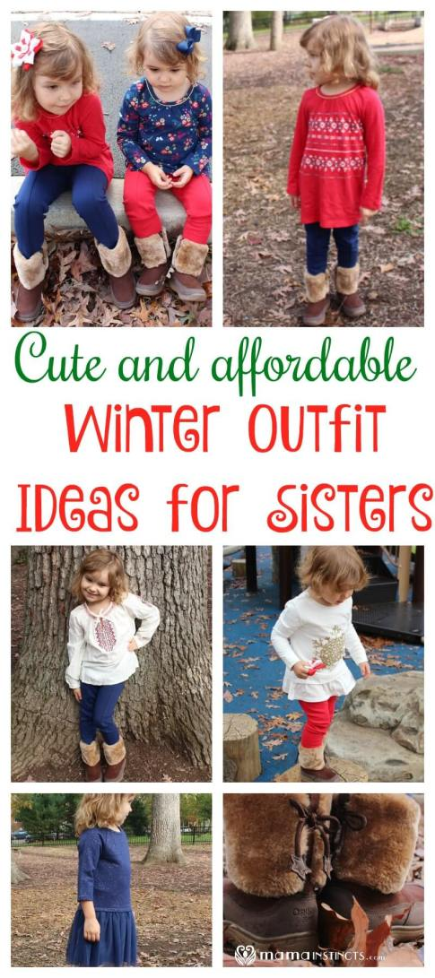 Looking for adorable winter outfits ideas for girls or sister? Check these cute clothes from OshKosh B'gosh! #girloutfits #winteroutfits #sisters