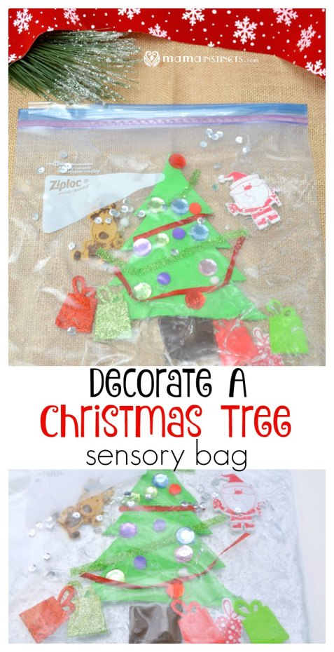 Try this super easy sensory kids activity! Decorate your own Christmas tree sensory bag activity. It will keep your kids busy and entertained for quite a bit!