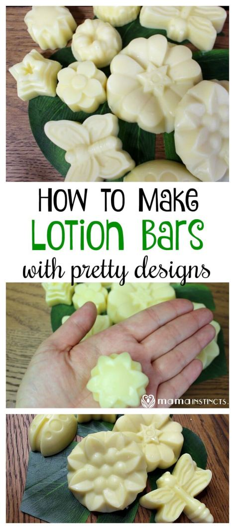 Make beautiful lotion bars with organic ingredients that will melt when they come in contact with your skin to nourish your body. #DIY #DIYbeauty