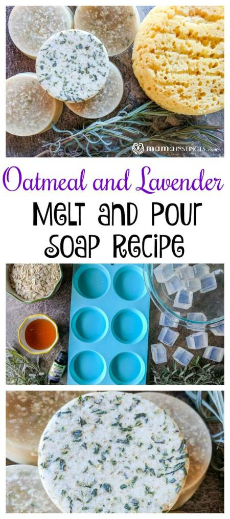 Make a nourishing and soothing soap that everyone will love. This oatmeal and lavender melt and pour soap recipe only takes 5 minutes to prepare. Your skin will thank you. #meltandpoursoap #DIYBeauty