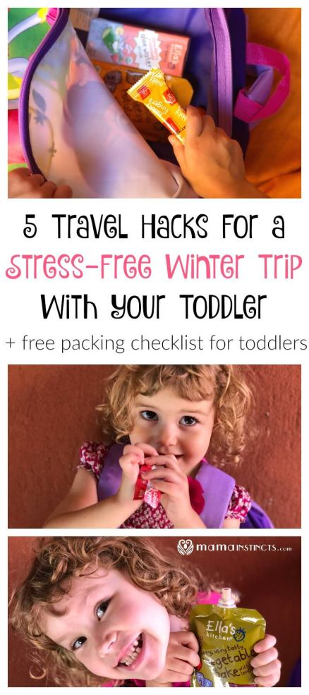 Traveling with your toddler doesn't have to be a overwhelming experience. Check out out top 5 winter travel tips and get our free checklist printable for a stress-free vacation. #familytravel #travelingwithkids #wintertravel