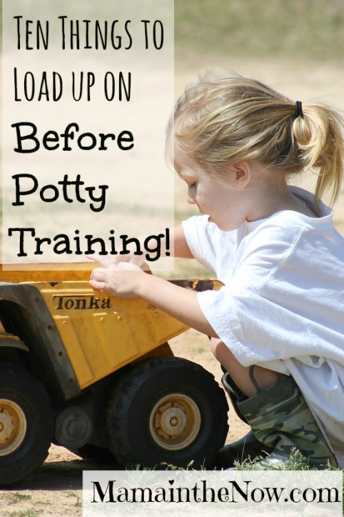 Ten things to load up on before potty training. Tips and tricks from a mother of four boys - so rest assured she's giving you her BEST information!