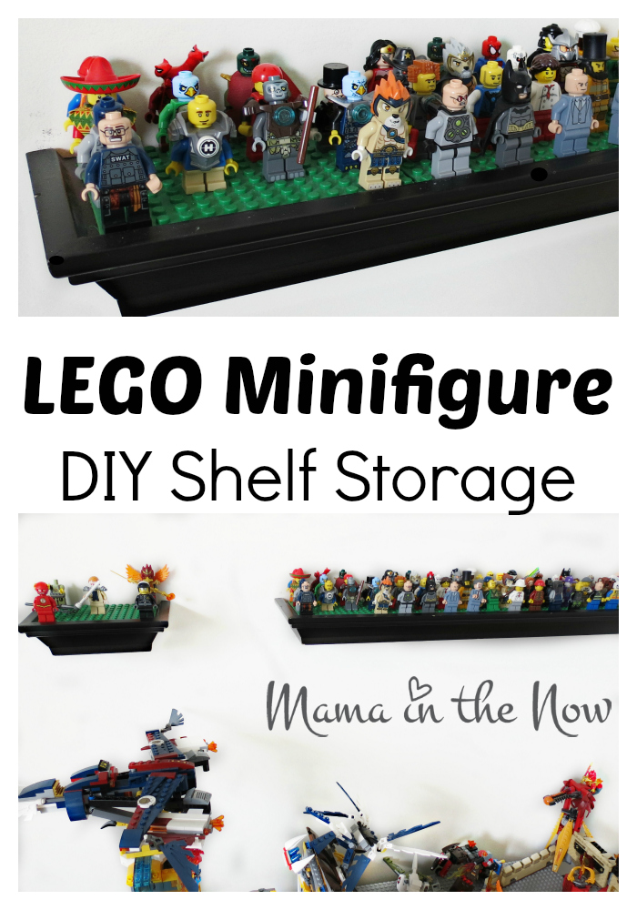 LEGO Minifigure DIY Shelf Storage. Complete details inside. Perfect LEGO storage and display solution.