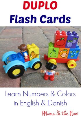 Duplo Flash Cards. Learn Numbers and Colors in English and Danish