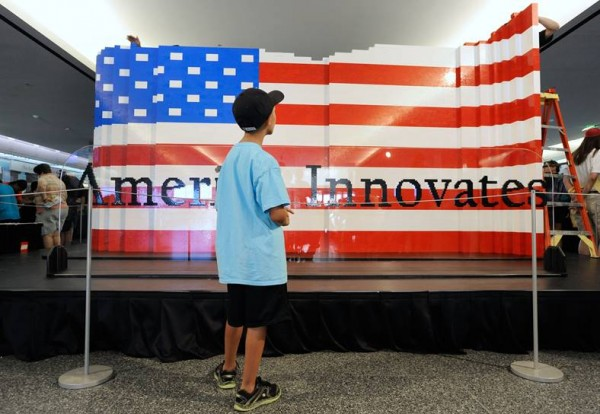LEGO Systems Inc. builds the world's largest LEGO American flag to celebrate the opening of the Innovation Wing at the National Museum of American History on Wednesday, July 1, 2015 in Washington.