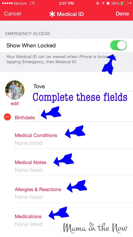Turn your iPhone into a life saving device. Be sure to complete as much information on this screen as possible