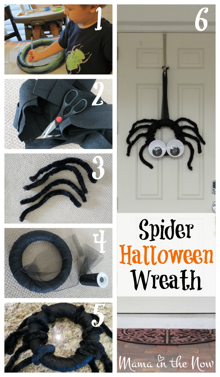 Step by step instructions to make this DIY Spider Halloween Wreath! Make your door the focal point of the neighborhood with this fun wreath! Craft to your heart's content!