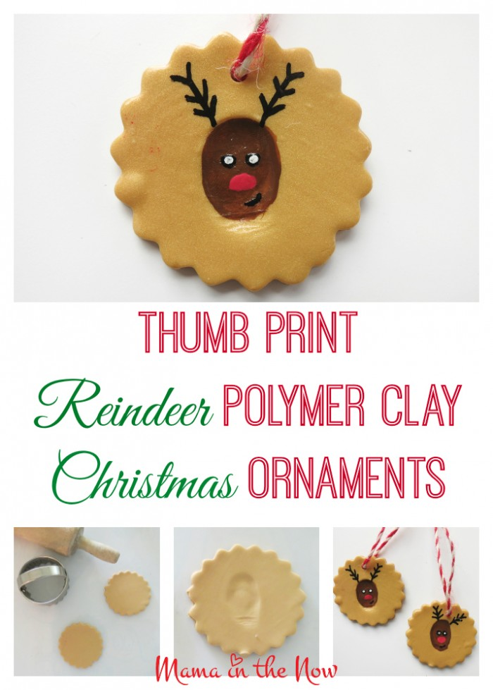 Thumb print reindeer polymer clay Christmas ornament. DIY craft project to make the most adorable Rudolf ornament, perfect as a gift or decoration.