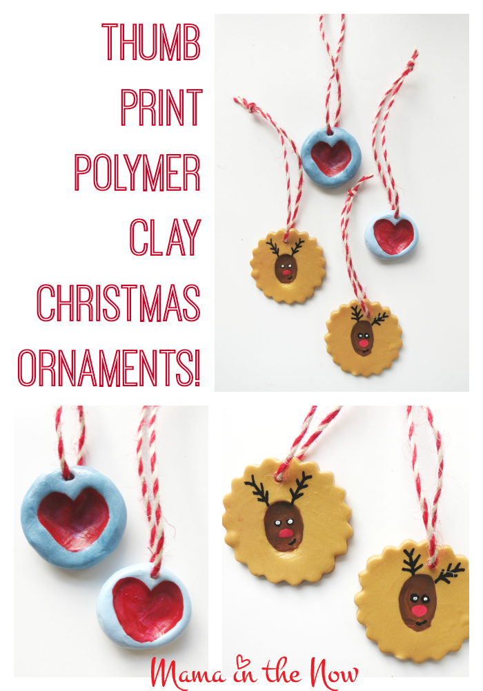 DIY Thumb print polymer clay christmas ornaments. This adorable, kid-friendly craft makes a great gift and decoration! - They are easy and fun to make.
