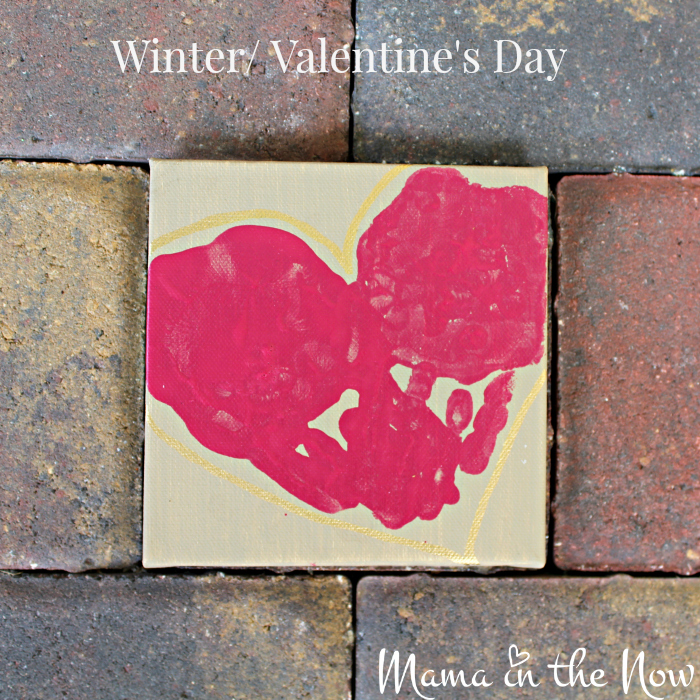 Valentine's day, mother's day or father's day handprint art from a child. Great Christmas gift idea.