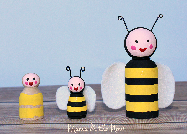 How to make the most adorable wooden insect peg dolls. Great craft for kids of all ages. Wooden bumble bee peg doll instructions.
