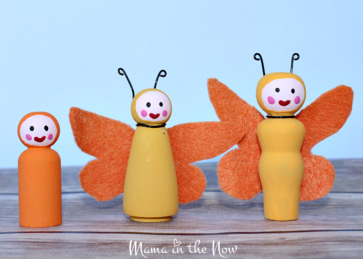 How to make the most adorable wooden insect peg dolls. Great craft for kids of all ages. Wooden butterfly peg doll instructions.