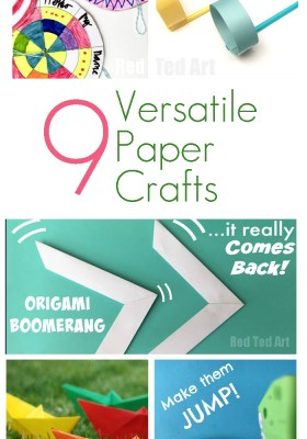 9 Versatile Paper Crafts. Origami, spinners, Pokemon crafts and STEM activities - all with the use of a few simple sheets of paper.
