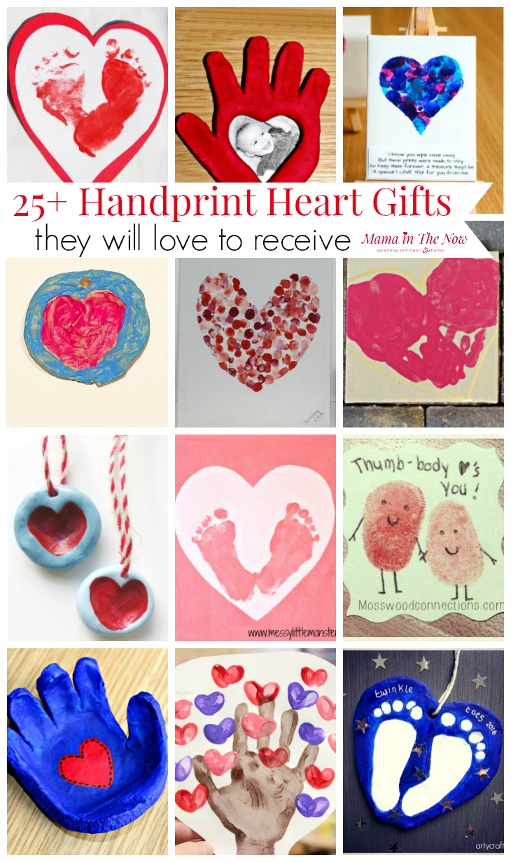Handprint gifts for grandparents, teachers and loved ones. Hearts, footprints, thumbprints - over 25 keepsake ideas