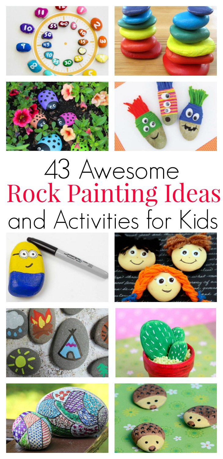 Rock painting inspiration for kids of all ages. Story stones, counting math games, garden markers and funny faces on rocks - perfect for random acts of kindness, my city rocks project.