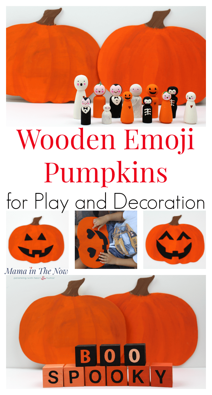 Handmade Halloween and decorations for a not too spooky house! Emoji faces for kids to learn facial expressions and emotions. Fine motor play, painted pumpkin fall decor. Wooden wall plaques for fall and quiet emoji toddler and preschool activity. #PreschoolActivity #Emoji #FallDecor #WoodenPumpkin