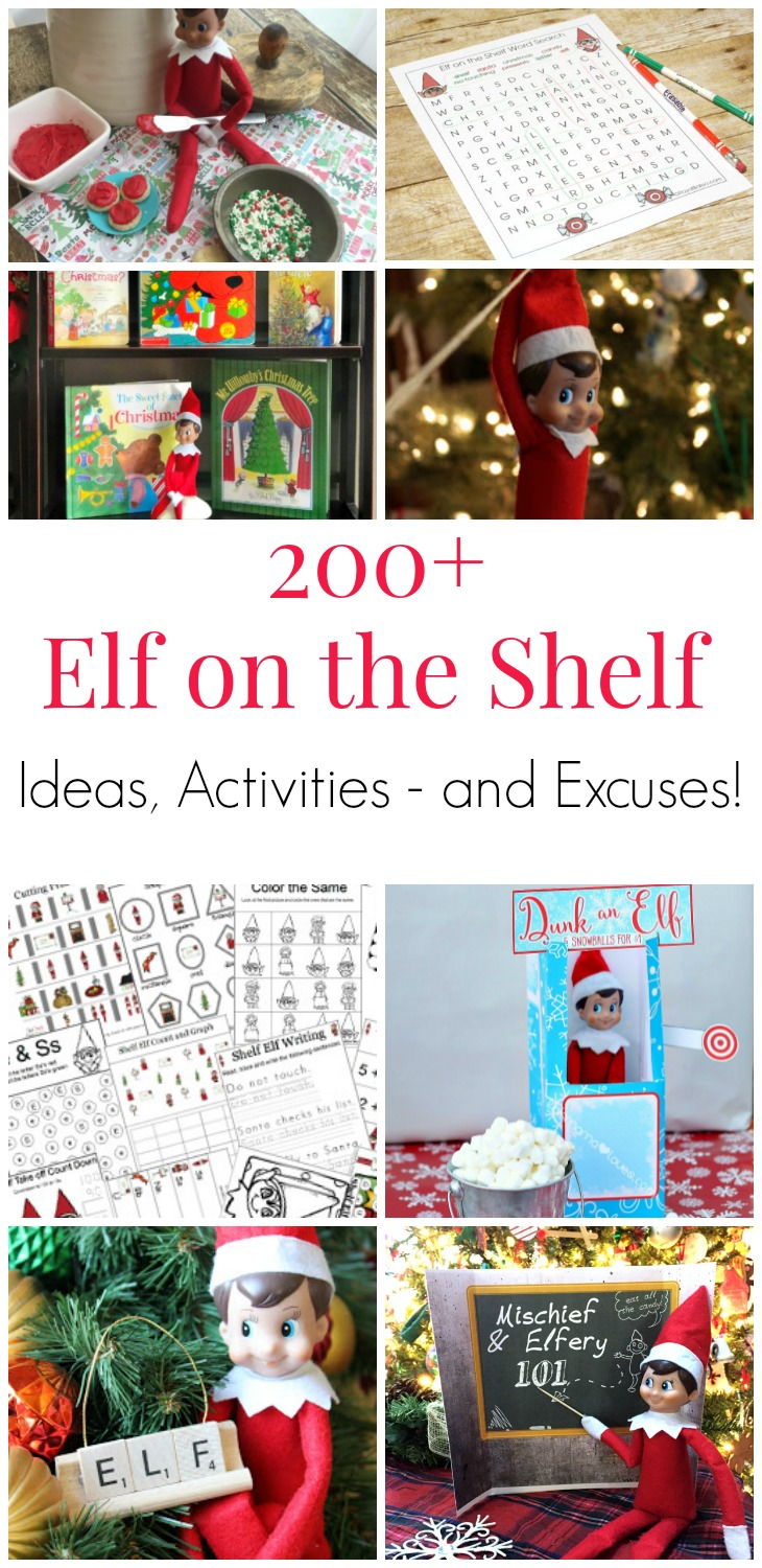 200+ Elf on the Shelf Ideas, Activities and Excuses! Elf on the Shelf Christmas inspiration to last you several years without ever repeating a trick! The best Elf on the Shelf tricks and hacks from around the internet! #ElfOnTheShelf #ChristmasElf #ElfOnTheShelfIdeas #Christmas #ElfOnTheShelfHacks