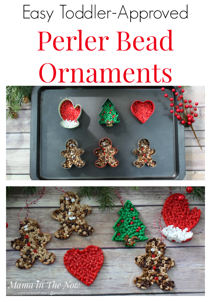 Easy Toddler-Approved Perler Bead Ornaments. Easy ornaments to make with toddlers and preschoolers. These Perler beads, fuse beads, HAMA beads are great for fine motor skills. The ornaments make great homemade gifts for grandparents. Fun, quick and easy craft for toddlers and preschoolers. Christmas ornaments for toddlers and preschoolers to make. #ChristmasOrnaments #ToddlerActivity #PerlerBeads #FuseBeads #HAMABeads #EasyChristmasOrnaments #HomemadeOrnaments