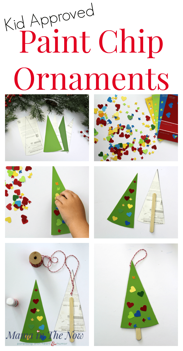 Paint chip Christmas ornaments, easy homemade Christmas presents for kids, toddlers, preschoolers. Paint Chip craft idea. Frugal DIY Christmas ornament and Christmas present. Play with color, learn color recognition with paint chips. Homeschool preschool activity with paint chips. Fun and easy craft for toddlers. Fine motor skill exercise. #PaintChip #ChristmasOrnament #HandmadeGift #PaintChipCraft #PaintChipOrnament #ToddlerCraft #PreschoolActivity