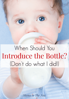 When should you introduce the bottle to your breastfed baby? (Don't do what I did!) Bottle-feed a breastfed baby with ease. Right timing for introducing the bottle. Pumping and bottle feeding tips for breastfeeding. #MamaintheNow