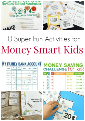 Fun activities for money smart kids. Creative ways to teach financial literacy to kids, tweens and teens. Teach your kids about financial responsibility and the value of money with these fun money activities. Math activities. Money lessons. #TeachingKids #FinancialLiteracy #MoneySmartKids #TeachingKidsAboutMoney #MamaintheNow