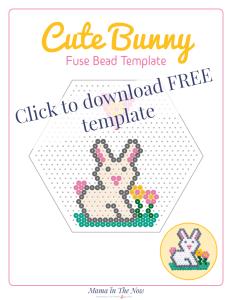Cute bunny perler bead template. Cute bunny bead pattern. Perler bead pattern of bunny. #SpringCrafts #PerlerBeads #CraftsForKids #PerlerBeadPattern #HamaBeadPattern #mamainthenow